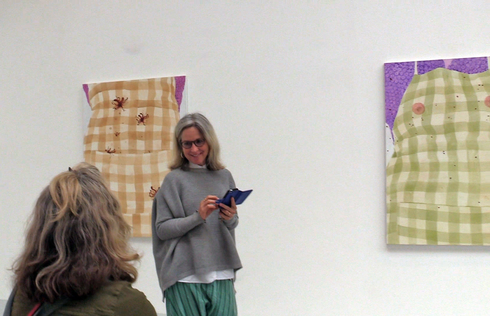 Janet Currier & Christine Stewart at Janet's MFA Show Goldsmiths 2017